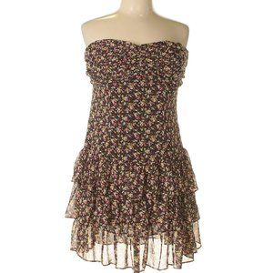 EXPRESS Brown Floral Ruffled Dress with Sparkles